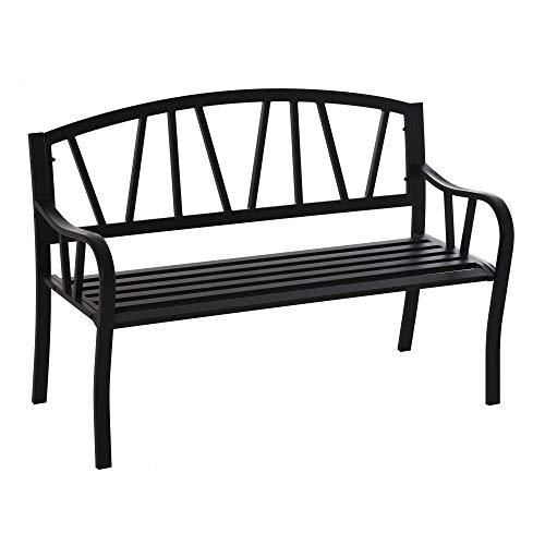 Outsunny Panchina da Giardino in Metallo Nero Impermeabile, Panca da Esterno in Ferro 2 Posti, 128x56x86cm