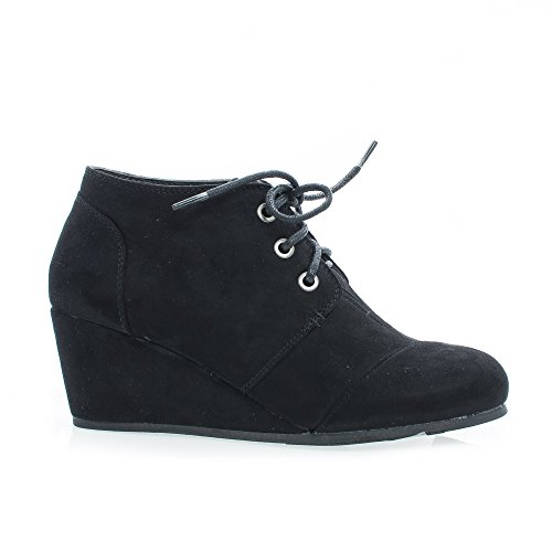 Sully's Paddy01 Black Round Toe Lace Up Hidden Wedge Heel Ankle Bootie-5.5