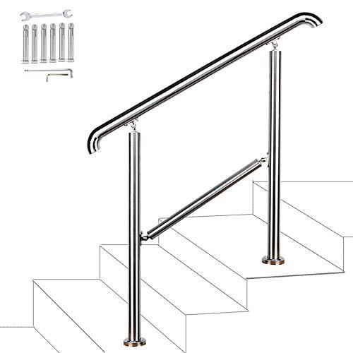 FlySkip 304 ステンレススチール 手すり 1~3 ステップの階段の手すり用 取り付けアクセサリー付き 厚さ1.5 mm 屋外 階段 手すり ポーチ ハンドレール 屋内外用