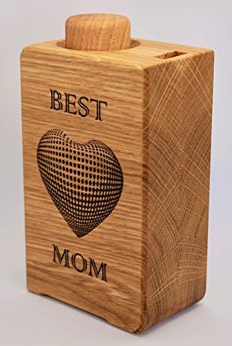 Azucarero madera (Roble BEST MOM) con dosificación 1 cucharadita 200 ml 60 porciones dispensador agitador dosificador tarro azúcar moreno de cana coco bio eco