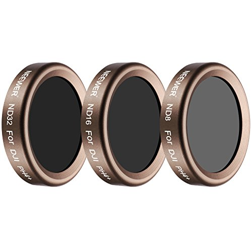 Neewer 3 Pieces Lens Filter Kit for DJI Phantom 4 Pro, Multi-coated, High Definition Glass and Aluminum Alloy Frame Includes: ND8, ND16 and ND32 (Gold)