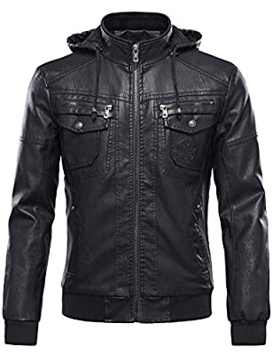 Tanming Men's Pu Leather Jacket with Removable Fur Hood (Large, Black) by