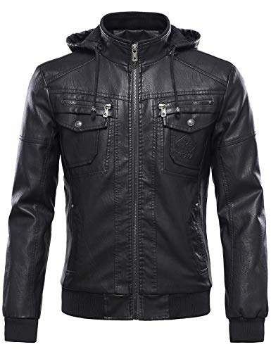 Tanming Men's Pu Leather Jacket with Removable Fur Hood (Medium, Black)