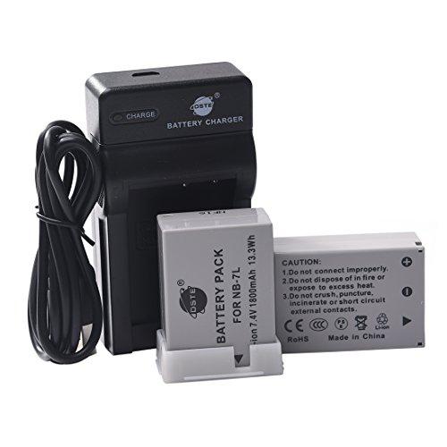 DSTE NB-7L - Juego de baterías y cargador para cámara Canon PowerShot G10, G11, G12, SX30 is (2 unidades)