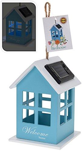 Deko Vogelhaus mit Solarzelle und LED Beleuchtung in 4 versch. Farben (blau)