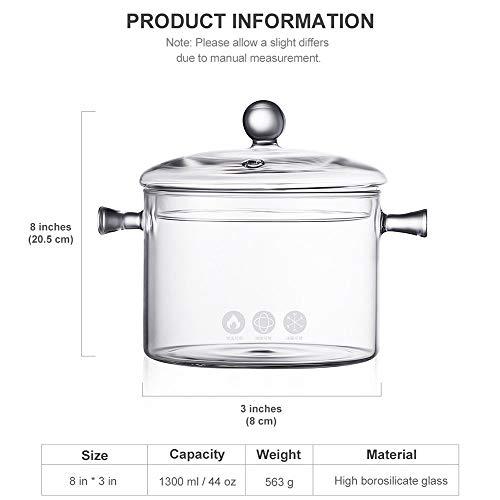 DGDHSIKG Suppentopf Haushalt Hitzebeständige Glassuppe Haferbrei Topf Mikrowelle Feuerheizung Transparente Glasschale Küche Kochutensilien, 1,5 l