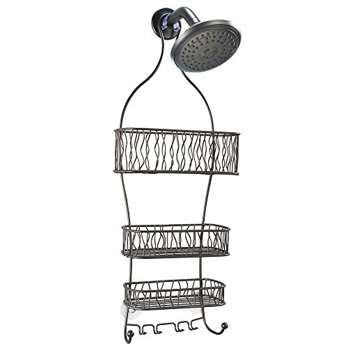 InterDesign Squiggle Hanging Shower Caddy – Bathroom Storage Shelves for Shampoo, Conditioner and Soap, Bronze