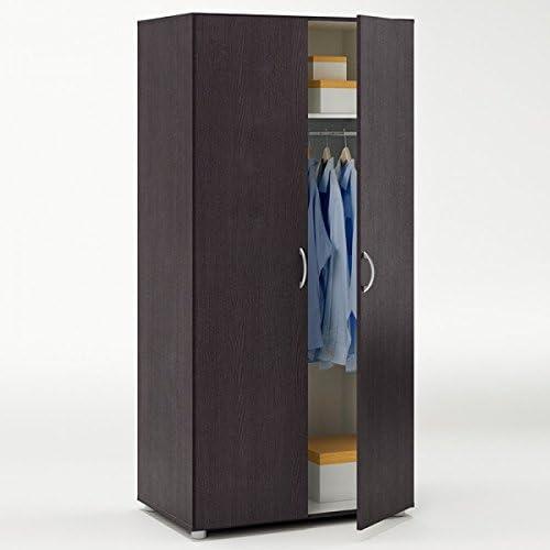 Kleiderschrank braun ebenholz 2 Türen B 81 cm Schrank Drehtürenschrank W heschrank Holzschrank Kinderzimmer Jugendzimmer Schlafzimmer