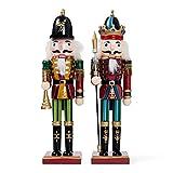 THE TWIDDLERS 2 Große Holz Weihnachten Nussknacker Figuren, 30cm - Klassische Weihnachtsdekoration