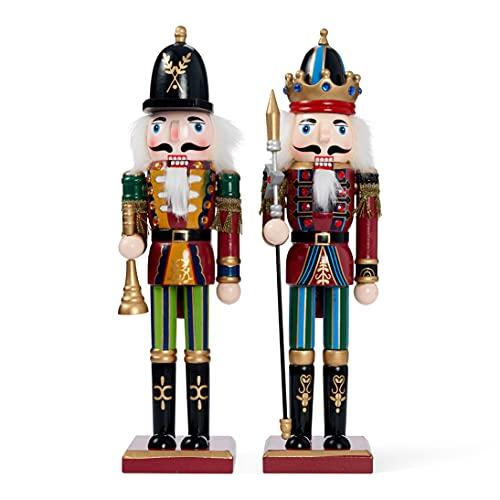 2 Piezas Cascanueces de Navidad de Madera, 30cm  Material de Pino y Madera Premium, Robusto, Colores Festivos  Marioneta de Navidad, Adornos de Decoración de Navidad Tradicionales Clásicos.