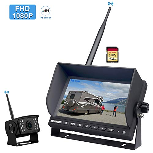"""CAMONS FHD 1080P Digital Wireless Backup Camera for RV/Truck/Trailer with 7"""" HD LED Monitor (2 or 4 Split No Flicker, Built-in DVR), 145° AHD IR Night Vision IP69 Waterproof Rear/Side/Front Camera"""