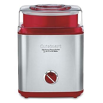 Cuisinart ICE-30R Pure Indulgence Frozen Yogurt Sorbet & Ice Cream Maker 2 quart Brushed Metal/Red