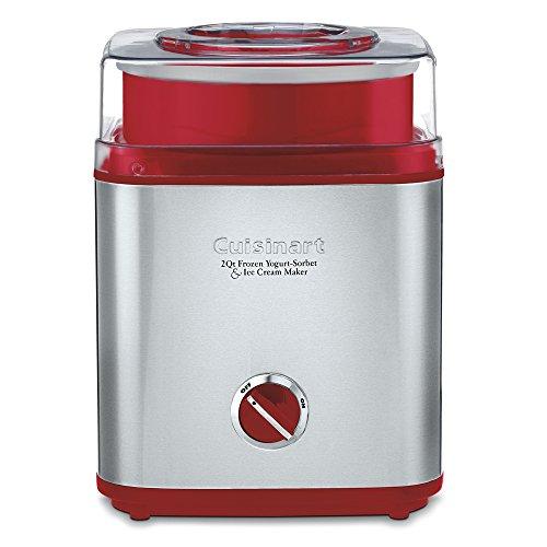 Cuisinart ICE-30R Pure Indulgence Frozen Yogurt Sorbet & Ice Cream Maker, 2 quart, Brushed Metal/Red