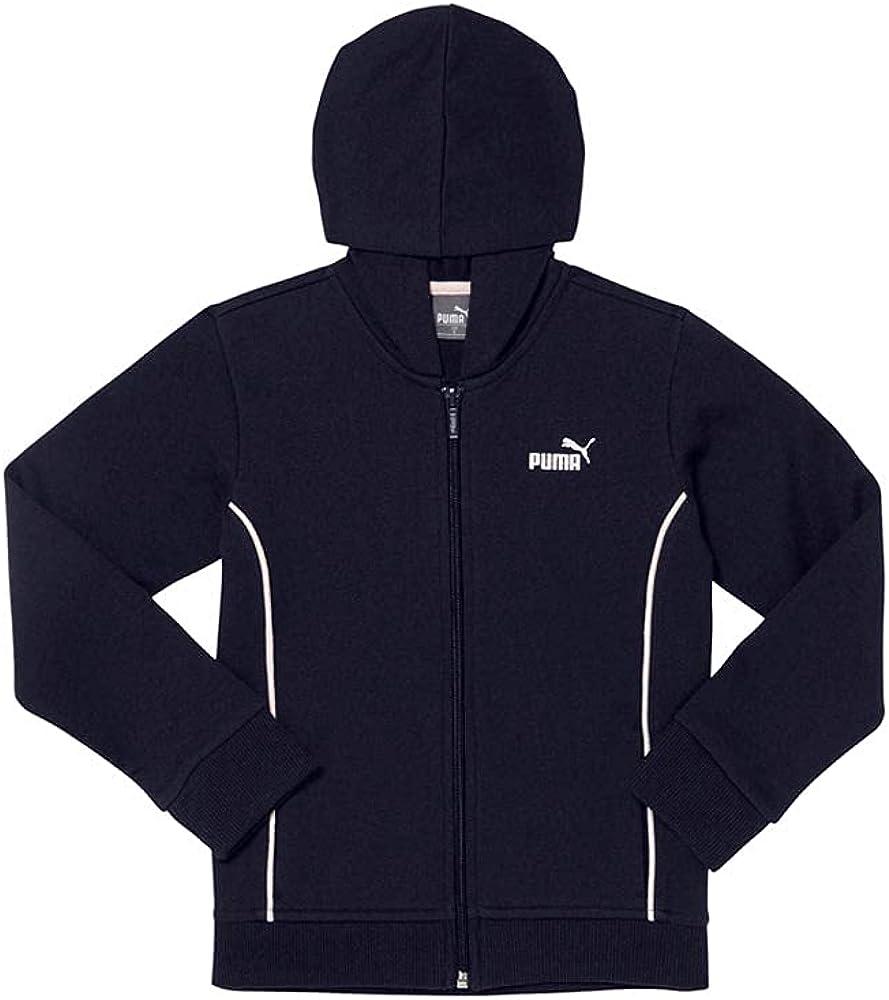 Puma Kids Boys Cotton Fleece Zip Up Hoodie W Piping - Full Zip Full Zip - Blue