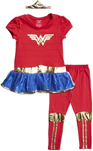 DC Comics Wonder Woman Big Girls Costume Peplum T Shirt Headband Leggings Set 10 12 product image