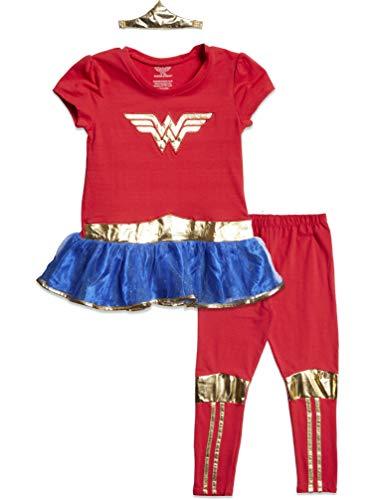 DC Comics Wonder Woman Big Girls Costume Peplum T-Shirt Headband & Leggings Set 10-12