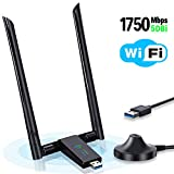 USB WiFi Adapter 1750Mbps, Onvian USB 3.0 Wireless Network WiFi Dongle with Dual 5dBi Antenna, 802.11ac Dual Band 2.4GHz 5.8GHz for Desktop Laptop PC, Supports Windows XP Vista 7 8 10 Linux Mac