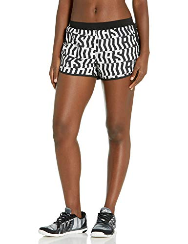 adidas Marathon 20 TKO - Pantalones Cortos para Mujer, Marathon 20 Graphic Shorts, Mujer, Color Blanco/Negro, tamaño M