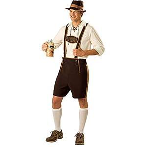 DishyKooker Herren Trachtenanzug im Bayerischen Stil Oktoberfest Pantsuit Gr. Medium, braun