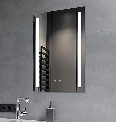 SGSpiegel Badspiegel mit Antibeschlag Heizung und seitlicher LED Beleuchtung, Badezimmerspiegel 70x50cm, Lichtfarbe Weiß, Energieklasse A+