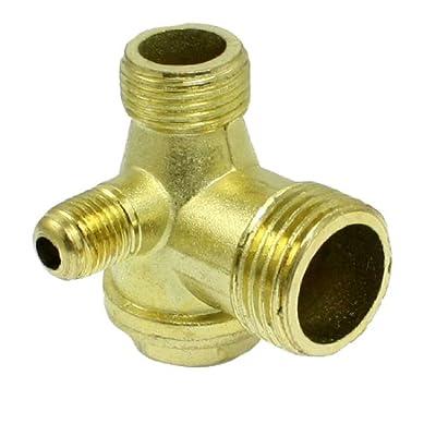 Amico Male Thread Brass Air Compressor Check Valve Spare Parts Gold Tone by Amico