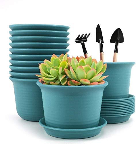 Astory Blumentöpfe für den Innenbereich, 6-Zoll-Kunststoff-Blumenpflanzgefäße mit Drainageloch und Tablett, 12er-Pack, Blau
