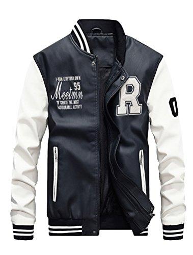 Vogstyle Uomo/Signori/Ragazzi PU Pelle College Baseball Jacket Felpa Motociclista Giacca Giubbotto Bianca XS