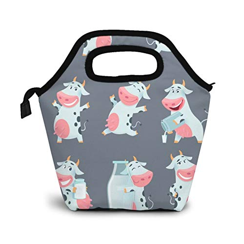 Reusable Lunch BagCute Funny Little Cow Lunch Bag Picnic Office Outdoor Thermal Carrying Gourmet Lunchbox Cartoon Animal Lunch Tote Container Tote Cooler Warm Pouch For MenWomen
