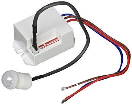 Mini Detector de Movimiento empotrable, Interior, Montaje en Pared, programable, Sensor de Infrarrojos, Alcance 6m/360°, LED Adecuado
