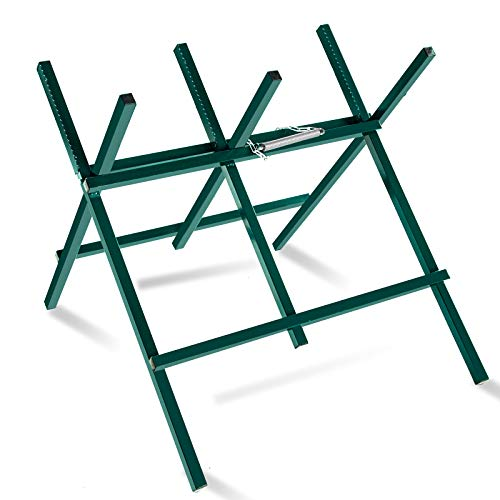 Kapler Log Sawhorse For ChainSaw, Foldable Steel Wood Saw Horse With Notched Sawtooth And Wood Log Fixed Spring, Supporting Weight 150 Lbs