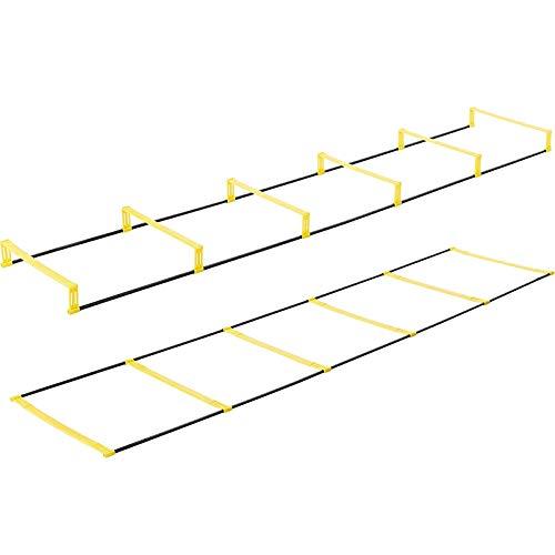 FDYD Criado Escalera de Agilidad Ejercicio de Entrenamiento de Doble Uso Multifuncional Agilidad Escala energética obstáculo Equipo de Entrenamiento de fútbol,6 Rung