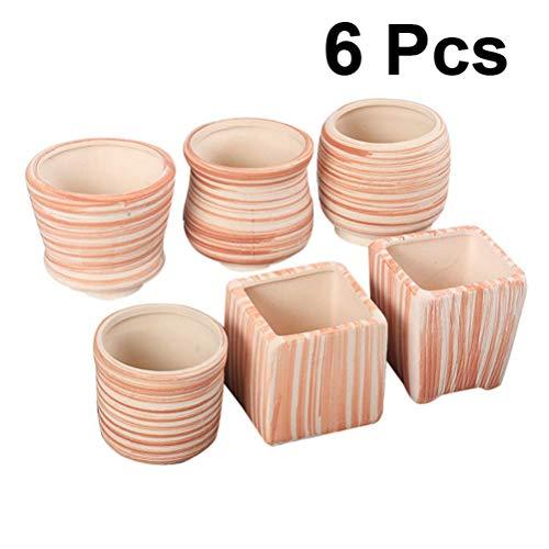 8cm Frühling Sommer Keramik Sukkulenten Blumentopf/Kaktus Blumentopf Blumentopf/Behälter/Pflanzgefäß Paket 1 Set mit 6 Stück Für Balkon Garten Wohnkultur im Freien