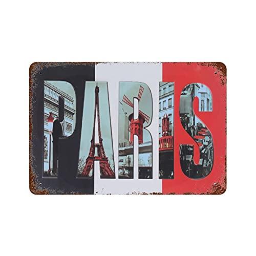 DEMANI Paris Retro Nostálgico Placa de metal para bar, escritório, casa, quarto, sala de jantar, cozinha, presente 19 x 29 cm (M)