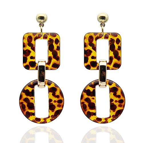 YUANYIRAN Geomrtric Square Circle Long Drop Earings - Leopard Vintage Bohemian Women Earring Trendy Acrílico Moderno Semental para Cumpleaños Fiesta De Boda Joyería Joyería Niñas Regalo