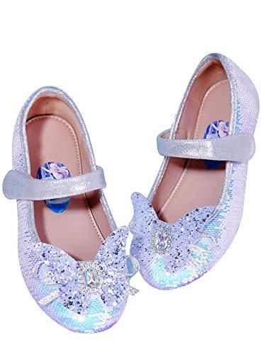 STRDK - Zapatos de fiesta para nias, princesa, para cosplay, Elsa, reina de la nieve, purpurina Mary Jane, color, talla 45 1/3 EU
