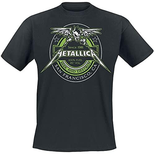 Metallica 100% Fuel - Seek and Destroy Hombre Camiseta Negro L, 100% algodón, Regular