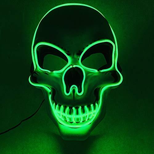 EEkiiqi Máscara LED de Halloween de miedo, máscara de cráneo iluminada por la muerte de miedo Cosplay brilla en la oscuridad Disfraz máscara para fiesta de Halloween, fiesta de disfraces (verde)