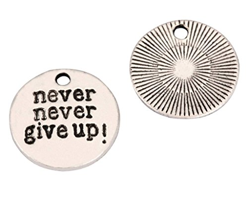 10 x Never Give Up Charms 20mm Antique Silver Tone | One Sided Charm Pendants #mcz1129