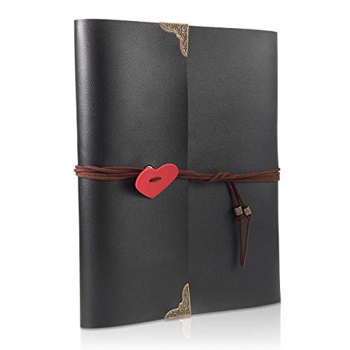 ThxMadam Scrapbook Cuero Álbum de Fotos Libro de Visitas de Boda con 60 Páginas Negras Presentes para Regalo de Valentín Día de Aniversario Navidad Cumpleaños para Esposa Hija Madre(Grande, álbum)