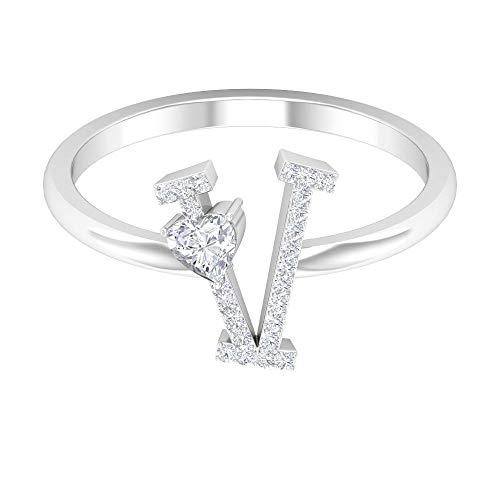 Anillo de compromiso único, anillo de boda único, anillo de letra del alfabeto en V, HI-SI de 1/4 quilates con forma de corazón, anillo de promesa, oro de 10 quilates blanco