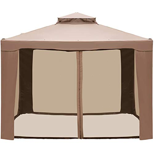 LOVSHARE Outdoor Canopy Gazebo 10x10ft with Four...