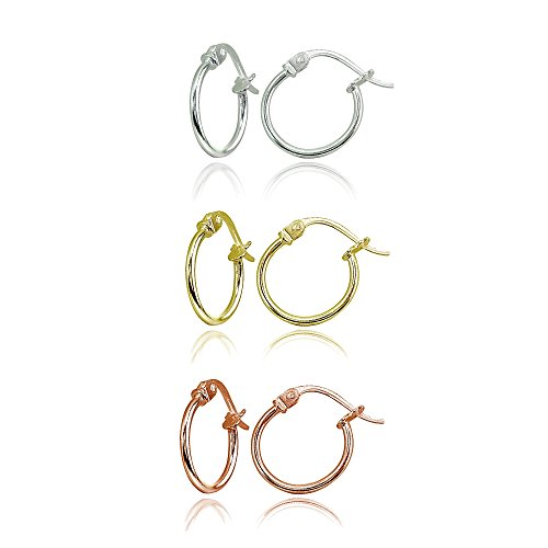 3 Pair Set Sterling Silver, Yellow & Rose Gold Flashed Tiny Small 12mm High Polished Round Thin Lightweight Unisex Click-Top Hoop Earrings