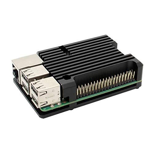 Cosye Para Raspberry Pi 3B Carcasa de Aluminio con Doble Ventilador de refrigeración Carcasa de Metal Carcasa Negra para RPI Raspberry Pi 3B