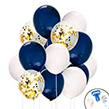 70 Pcs 12 Inches Navy Blue and Gold Confetti Balloons, White Balloons for Birthday Party Decorations Graduation Balloon Garland Arch Kit