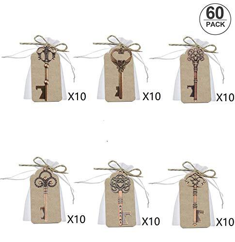 60 pcs Llave Abrebotellas de Boda, Llaves de Esqueleto Favores de Abrebotellas con Bolsas de Organza Blancas y Tarjeta de Etiqueta, Estilo Vintage, 6 Estilos