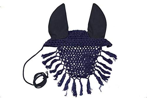 Derby Originals Premium Show Crochet Horse Fly Veil Bonnet with Crystal Brow and Soft Knit Ears - Provides Protection from Insects Without Impairing Vision (Single, Blue)