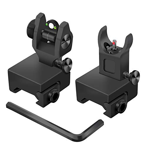 AWOTAC Tactical Fiber Optics Low Profile Flip up Iron Sight with Front Red Dot Sight and Rear Green Dot Sight Fit Picatinny Weaver Rails