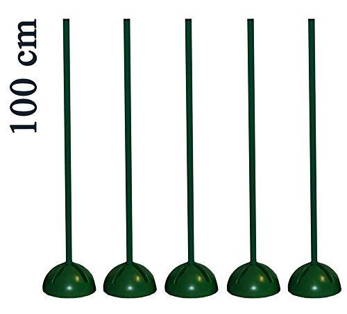 Boje Sport 5er Set Slalomstange mit befüllbarem X-Standfuß, Farbe: grün - Stangenlängen 100 cm