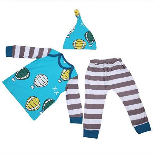 Conjunto de ropa 3 en 1, mono para bebé, con color puro, diseño simple,(blue, 80)