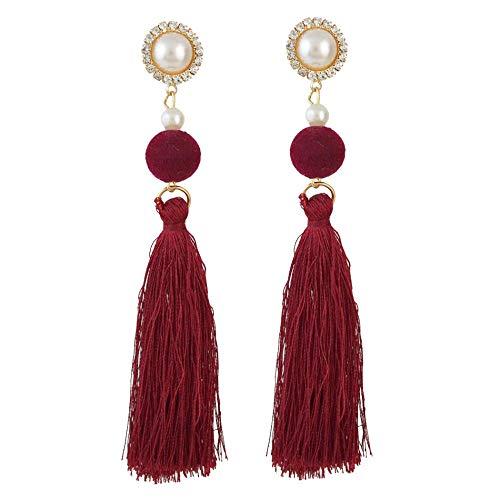 Nuevo estilo europeo y americano pendientes de moda personalizados pendientes de borla de perlas de bola de pelo joyería-rojo